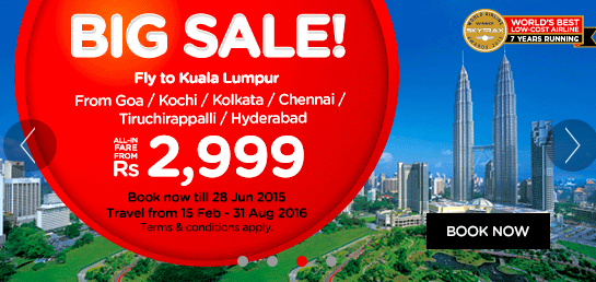 Air Asia offers huge discounts on India airfares