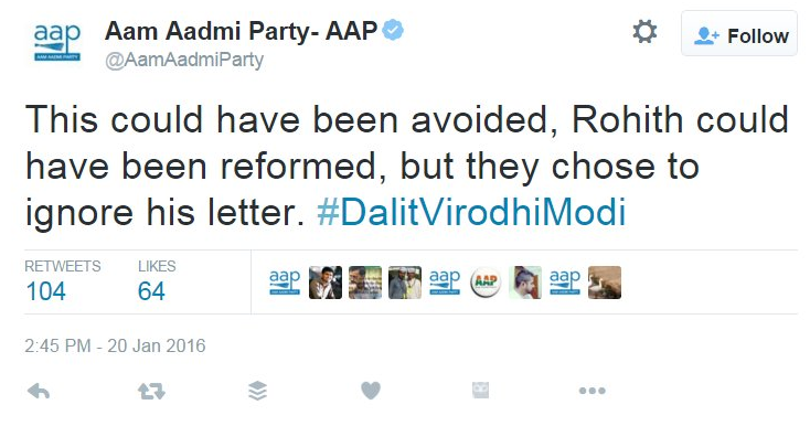 Rohit Vemula was in need of reform, says AAP