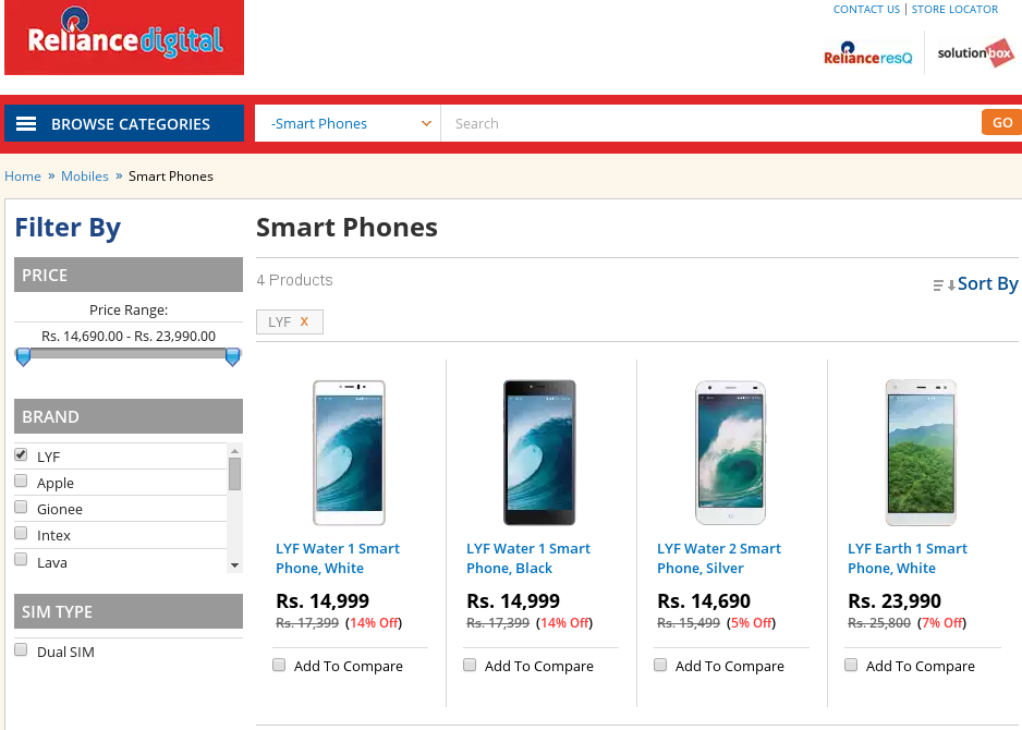 Reliance Digital lists Jio LYF phones ahead of 4G launch