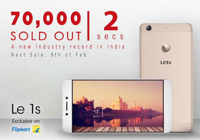 70,000 LeEco Le 1s sold out in 2 seconds on Flipkart