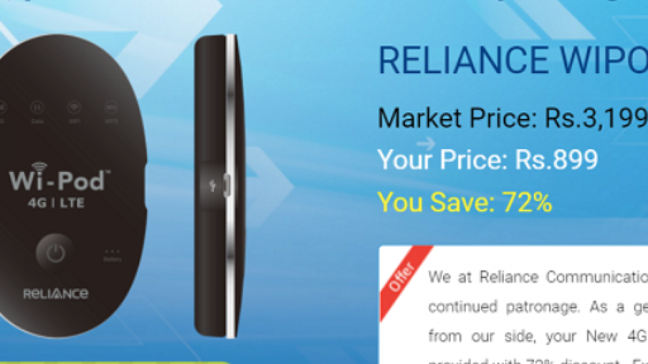 At Rs 899, Reliance Communications gives 72% discount on 4G