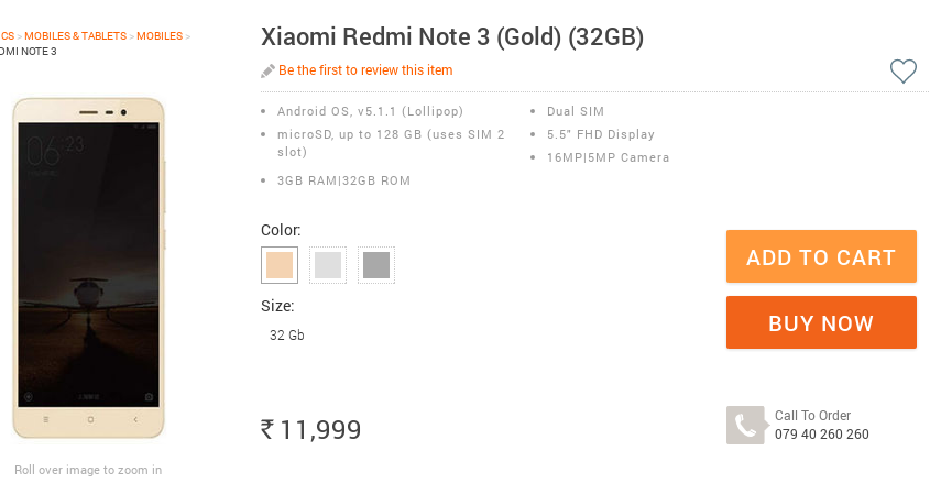 Infibeam offers Xiaomi Redmi Note 3 (32 GB) via open sale in India