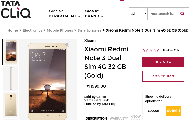 Redmi Note 3 available at Rs 11,400 on Tata's CliQ online shop in India