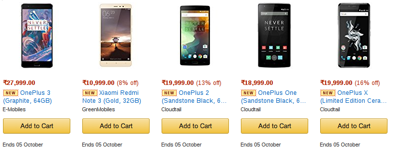 AMAZON DIWALI 2016 Sale   Top 10 MOBILE deals 2450db32e14b