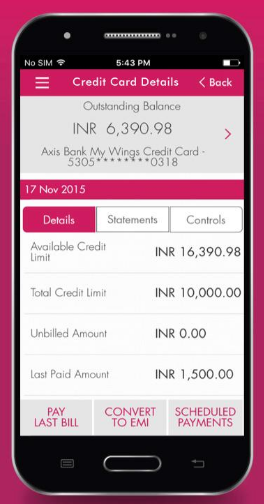 mobile axis bank