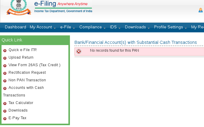 Income Tax Dept website now shows your bank accounts with cash transactions