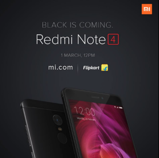 Redmi Note 4 Black coming to India on Mar 1