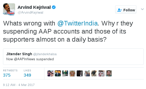 Arvind Kejriwal protests after Twitter cracks down on AAP accounts