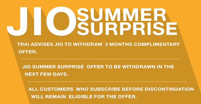 Reliance Jio could replace Summer Surprise with new offer after TRAI order