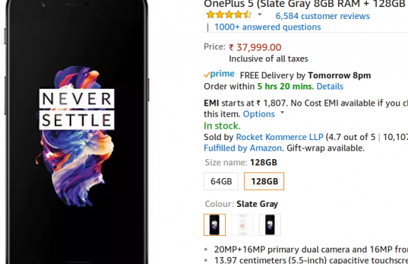 OnePlus 5 with 8GB RAM starts selling on Amazon India
