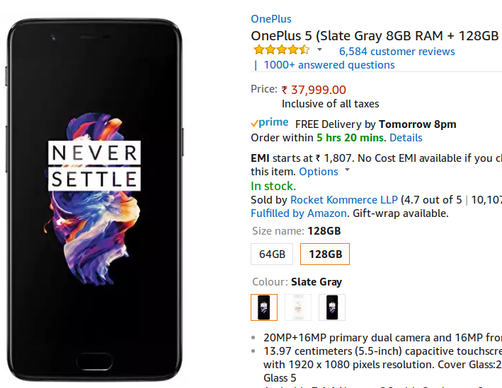 OnePlus 5 8GB RAM Slate Gray Variant Now Available in India, via Amazon and OnePlus Store