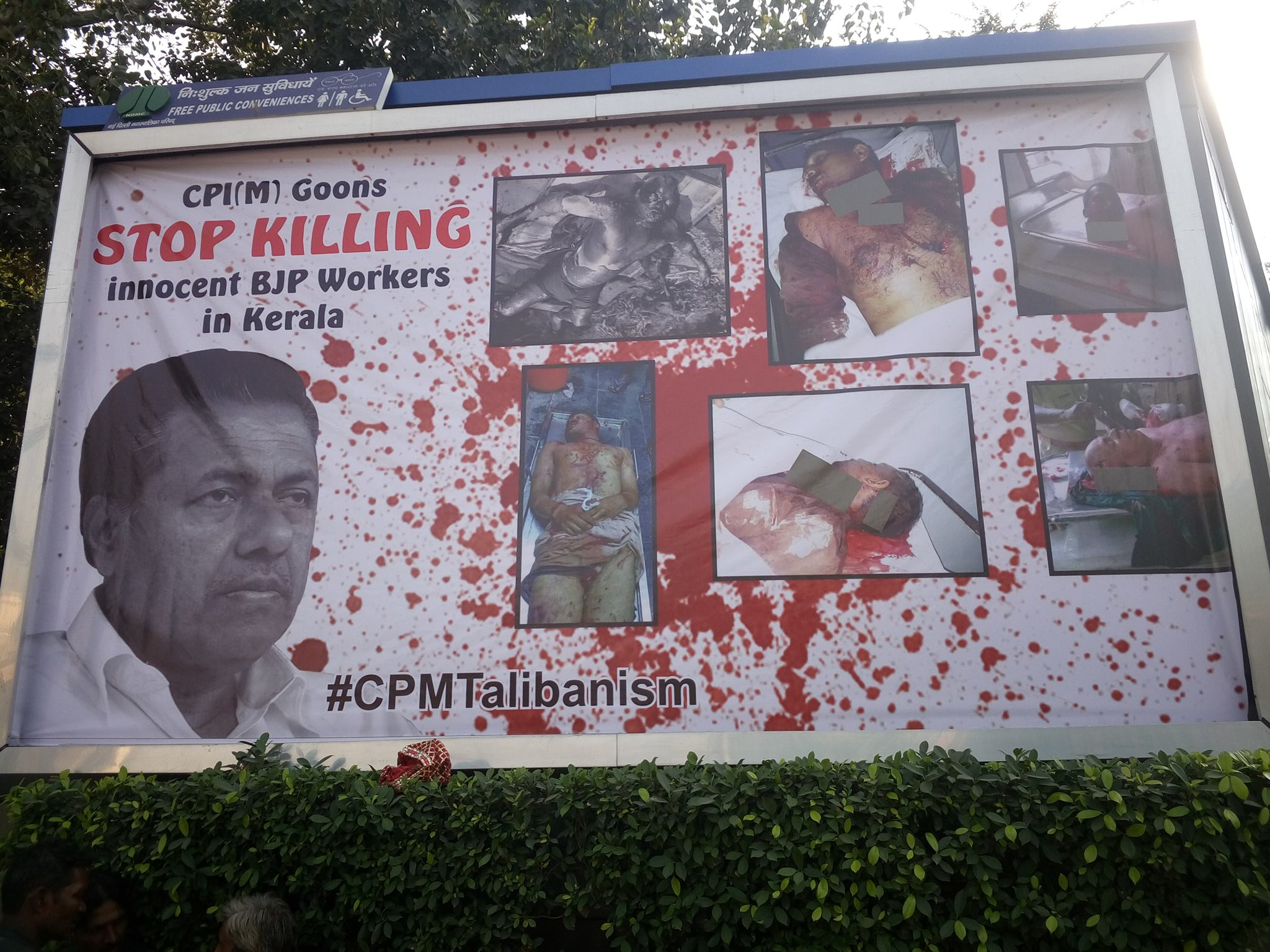 BJP places gruesome banners of Kerala killings in New Delhi