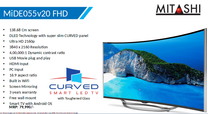 Mitashi launches 55-inch curved TV with Samsung 4K panel @Rs 80k