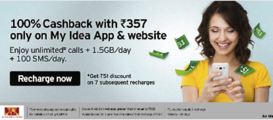 After Reliance Jio, Idea offers 100% cashback on Rs 357 plan