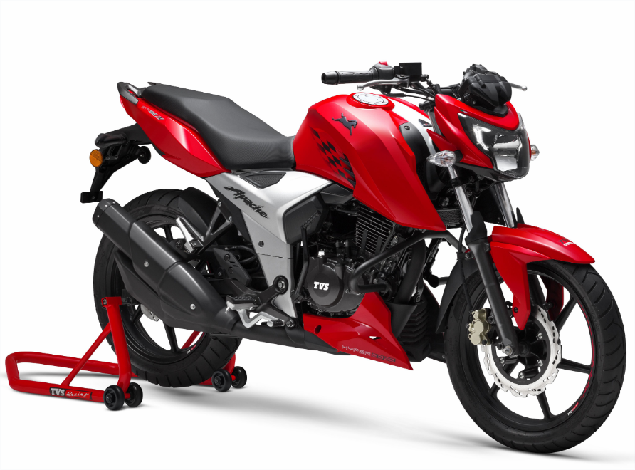 tvs unveils stylish apache rtr 160 4v 2018 with 4cylinder