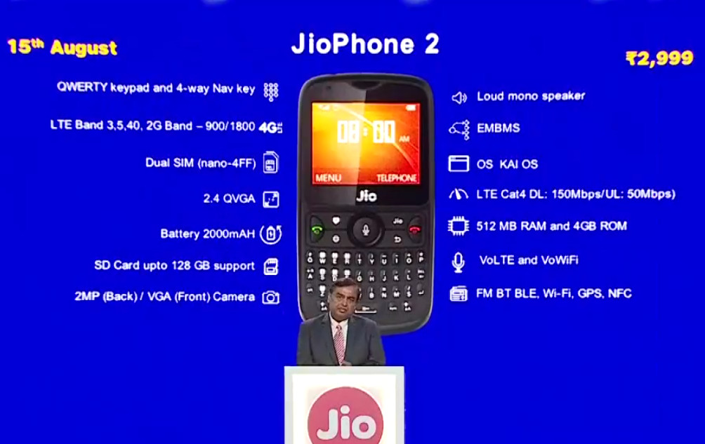 Jiophone 2 specifications betray entry-level positioning