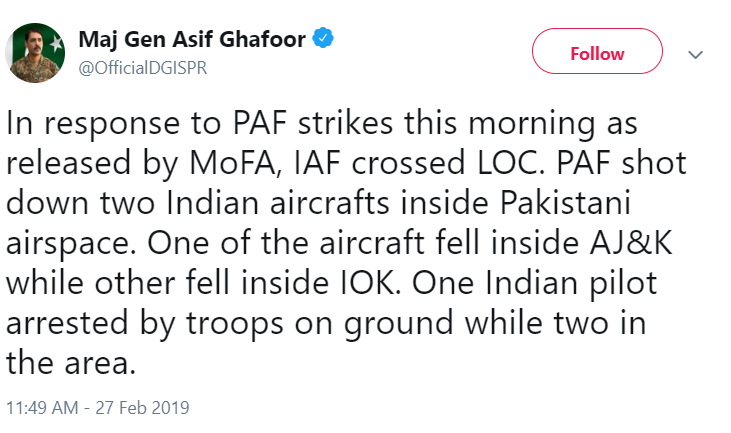 Indian fighters downed after chasing Pakistani jets across the border